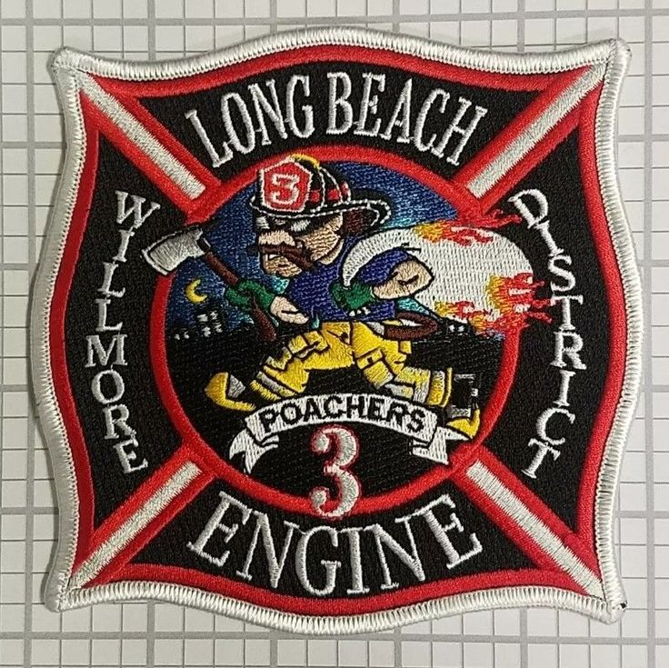 Long Beach Fire Department CA California LBFD Engine 3 Patch Willmore District