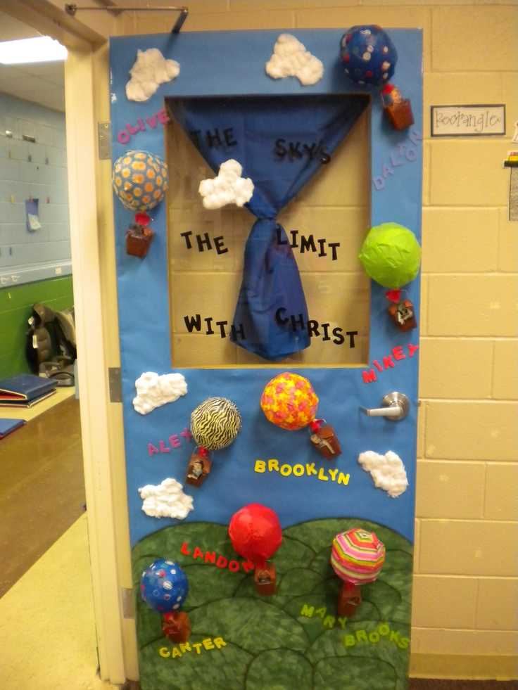 Classroom door decoration the sky is the limit with mrs for P g class decoration