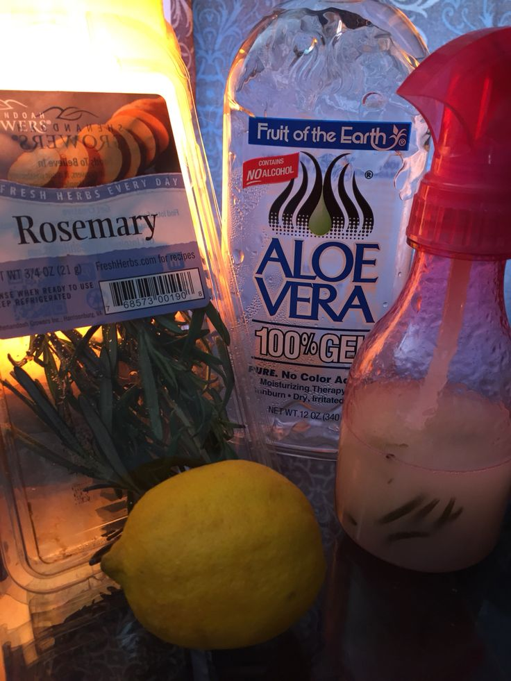 Dreadlock Spray  Boil 1 lemon slices in wedges with water and 5 sprigs of fresh rosemary. Cool and add 2/3 mixture to 1/3 aloe gel no additives or dyes. Add 1/2 tsp of vitamin e oil and 10 drops of essential oil of choice.
