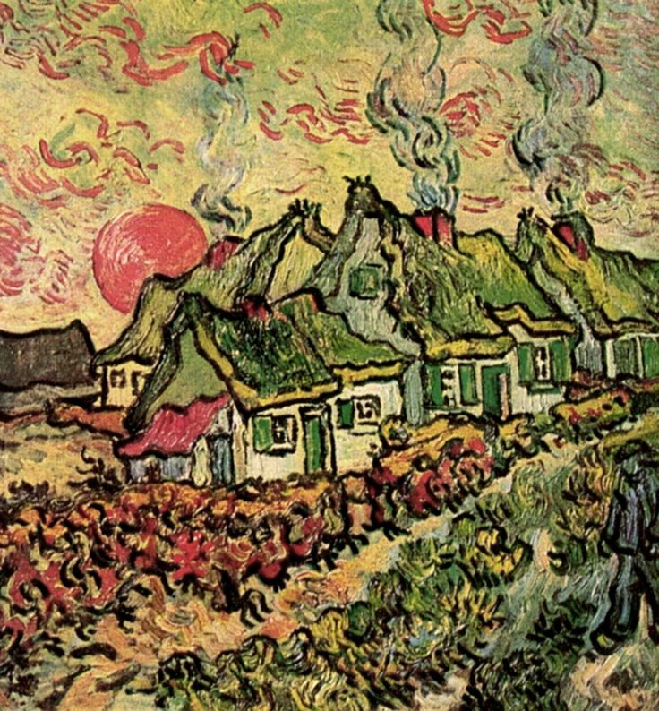 Cottages Reminiscence of the North - Vincent van Gogh - Painted in  March-April, 1890  while in the Saint-Rémy Asylum - Current location: Private collection
