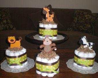 Selva mono Safari pañal Cake bebé ducha por bearbottomdiapercakes