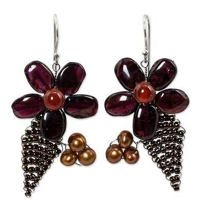 Novica Cultured pearl and garnet flower earrings, Thai Petals