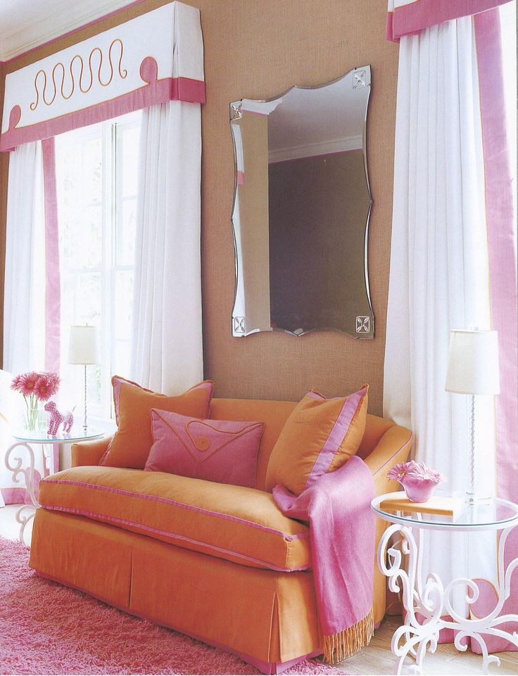 Love these colors together. Cute details on the window treatments too! Interior by Suzanne Kasler