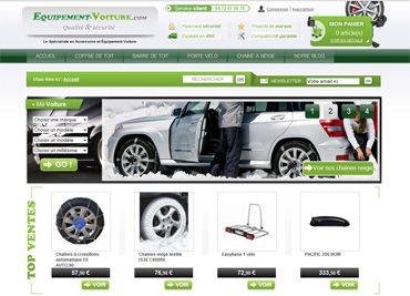 Création du site e-Commerce Equipement-Voiture.com _ coffre de toit, chaines à neige, barre de toit et porte vélos....