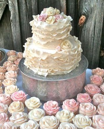 Ruffle Cake and Flowery Ruffle Cupcakes...Match made in Heaven!