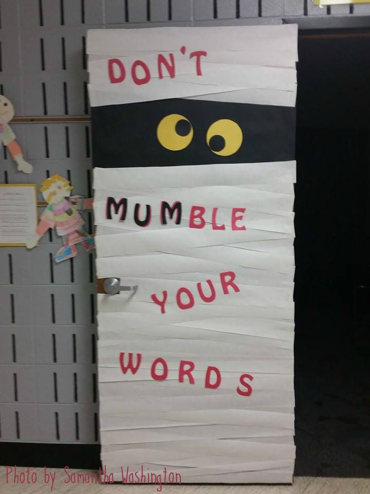 Don't Mumble Your Words! - Halloween themed speech room door