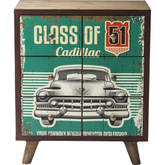 Συρταριέρα Garage Style (6 συρτάρια) Υπέροχη συρταριέρα με νεανική διάθεση και vintage look. Σκελετός από ξύλο έλατου, συρτάρια από MDF με επικάλυψη από αυτοκόλλητη τυπωμένη επιφάνεια από χαρτί με τεχνητή παλαίωση, και μεταλλικά χερούλια.