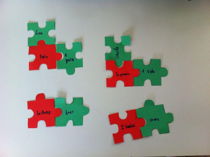 il puzzle dell'analisi logica. Rosso= soggetto Verde= predicato