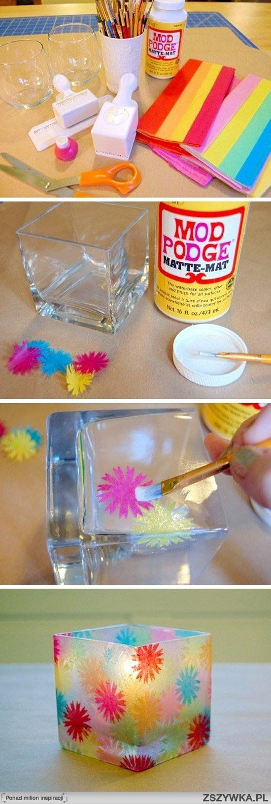 What a fabulous idea and so easy to do all you need is Modge Podge - or if you cannot get any some slightly watered down PVA glue will do the trick