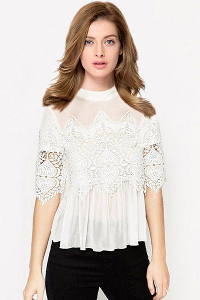 Voile Lace Spliced Stand Collar See-Through Blouse