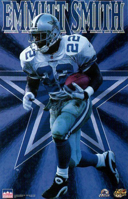 Emmitt Smith Glow #Dallas Cowboys Original Starline Poster