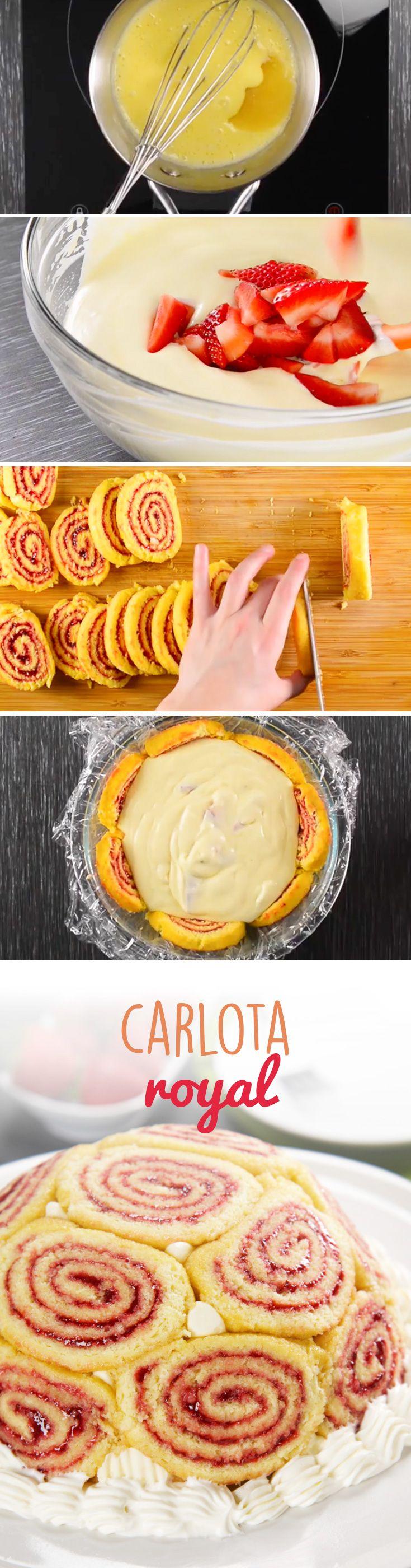 Carlota Royal de fresas con crema. Un pastel muy creativo y llamativo que enamora a cualquiera. Sigue este paso a paso para hacer este postre para #sanvalentin