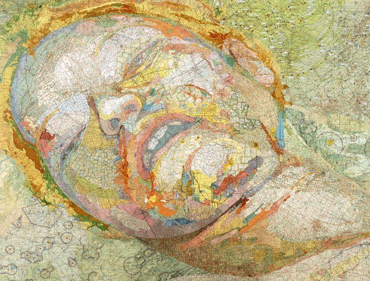 ...Matthew Cusick: ia mencipta lukisan, gambar, kolase, di atas peta-peta tua, buku-buku bekas, dsb.