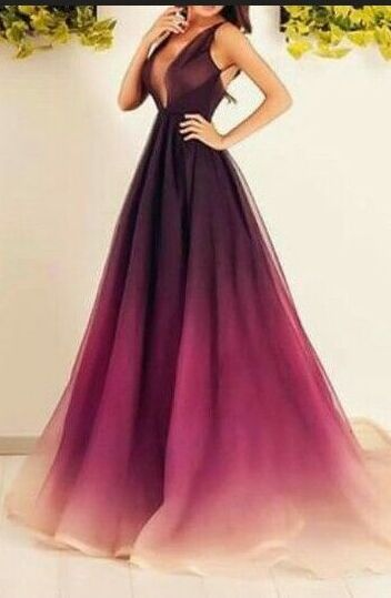 Long Evening Dresses,Sparkly Prom Dresses,Ombre Chiffon Prom Dresses,Long Prom Dresses,V-neck Prom Dresses,A-line Prom Dress,Plus Size Prom Dresses,Pretty Prom Gowns,Evening Dresses,Elegant Party Dresses