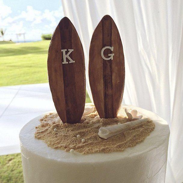 Surfboard Wedding Cake Topper