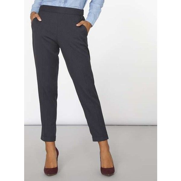 Navy Pinstripe Trousers ($29) ❤ liked on Polyvore featuring pants, navy blue pants, dorothy perkins, navy blue pinstripe pants, navy blue trousers and navy trousers