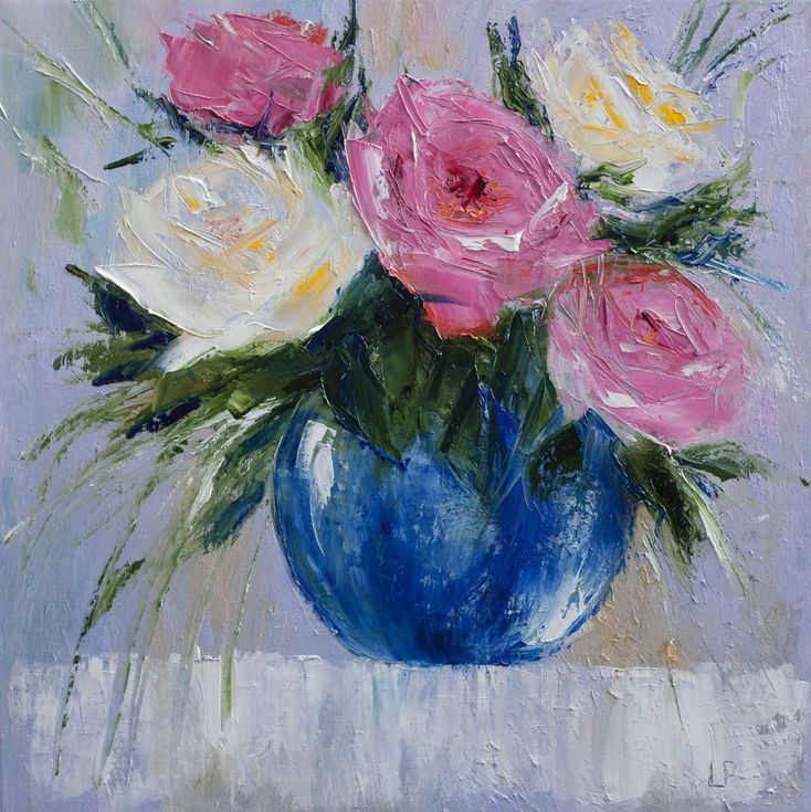 Buy Flowers In a Blue Vase, Oil painting by Liudmila Pisliakova on Artfinder. Discover thousands of other original paintings, prints, sculptures and photography from independent artists.