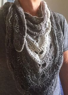 Virus Shawl - free pattern.. using Shawl in a Ball..  Feng Shui Grey.. Size H hook..  I love this