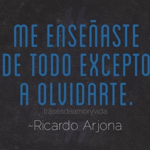 Imagen de frase de amor -Ricardo Arjona Me enseñaste de todo excepto a olvidarte