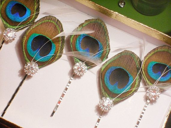 Peacock Feather Hair Pins -- Five Peacock and Crystal Hair Accessories on Etsy, $50.00