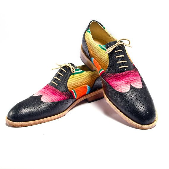oh my goodness. awesomeness.  mexican blanket  zarape  and black brogues oxford by goodbyefolk, $225.00