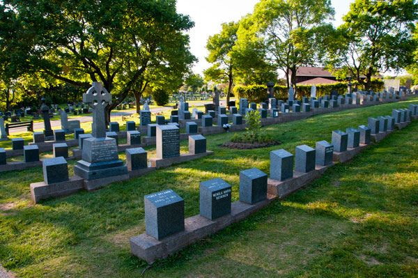 Graves of 121 Titanic casualties, Fairview Lawn Cemetery, Halifax, Nova Scotia, Canada