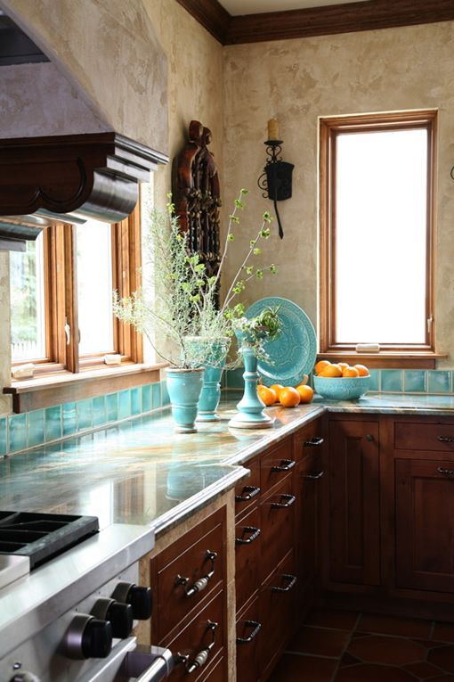 House of Turquoise: Turquoise Mexican Kitchen not exactly but very cool and good way to have some color with neutrals