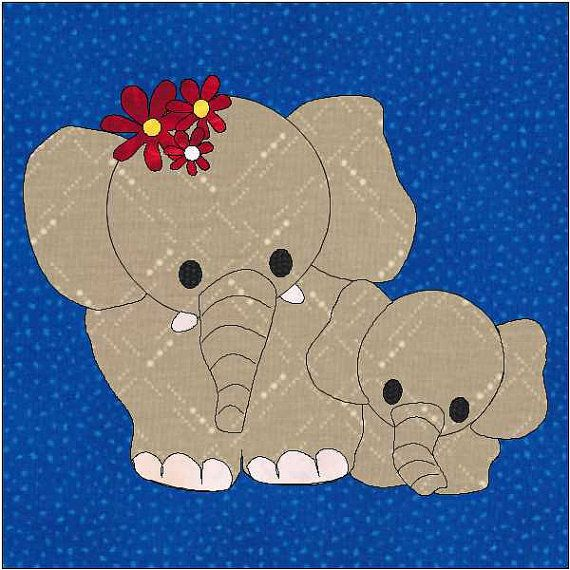 Elephant Pattern  Elephant Applique Block  Quilt by OneDaisyStudio