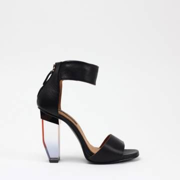 MIISTA JAYDA Black Leather Heels Women Shoes