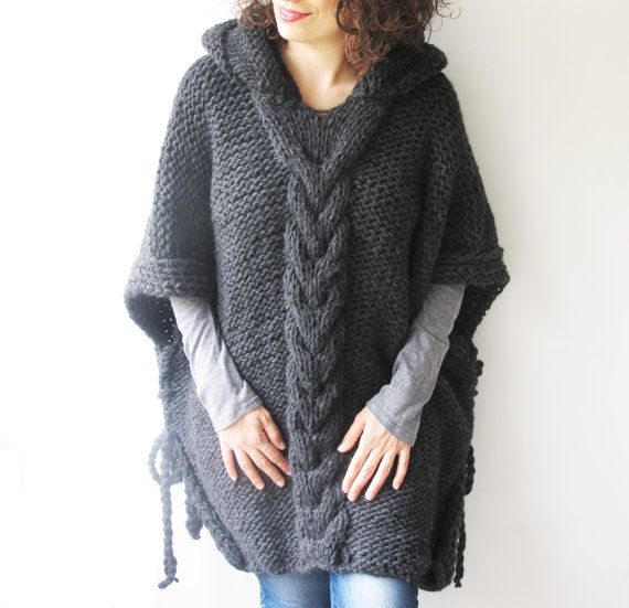 Hey, I found this really awesome Etsy listing at https://www.etsy.com/listing/188385945/dark-gray-plus-size-cable-knit-poncho
