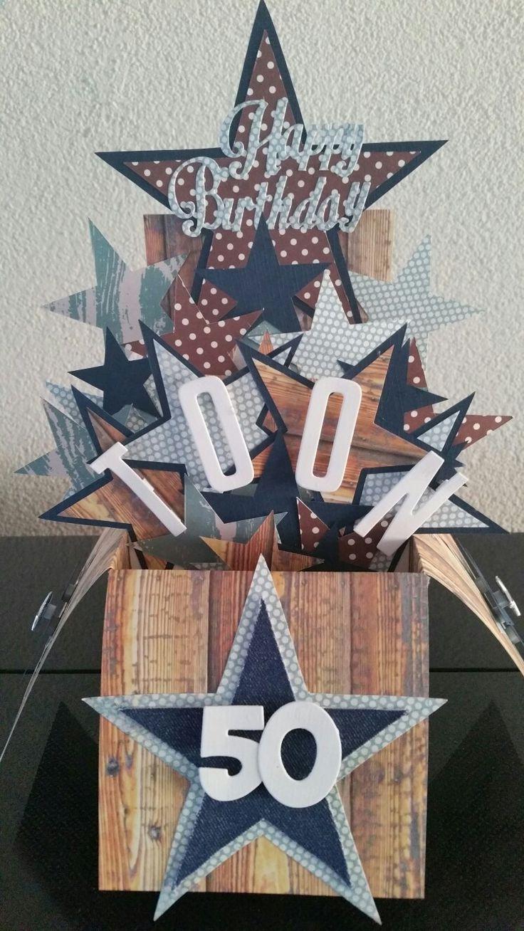 Made by; Corine. Explosie doos. Sterren. 50e verjaardag.