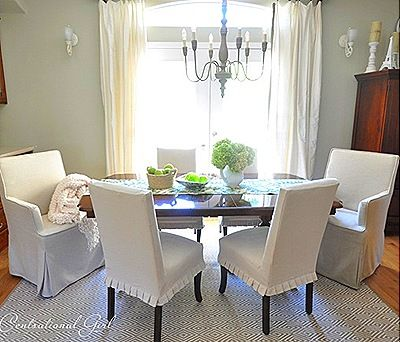 Parsons Chairs With Short Ruffled Slipcover