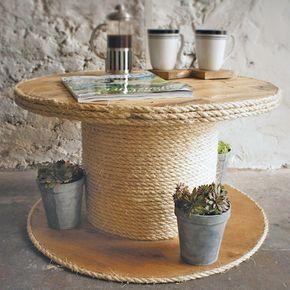 table basse bricolage en corde à câble en bois  – Bastelarbeiten