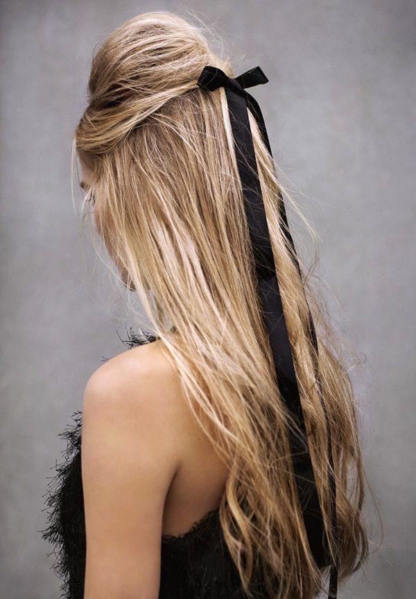 : Ribbons Bows, Hairs Bows, Blonde, Hairs Ribbons, Black Bows, Longhair, Hairs Styles, Black Ribbons, Long Hairs
