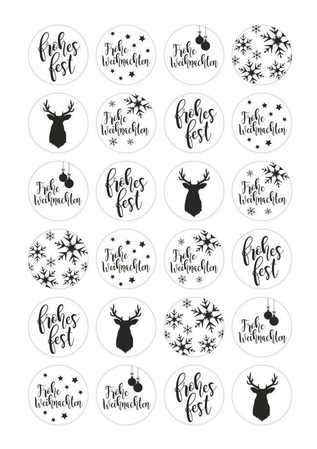 Aufkleber Weihnachten Mix IV, schwarz weiß, Aufkleber Weihnachten, weihnachtsgeschenke verpacken, geschenke verpacken weihnachten, aufkleber weihnachten, sticker weihnachten, etiketten weihnachten,  aufkleber hirsch, aufkleber frohes fest