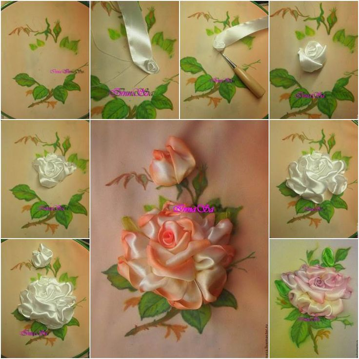 DIY Beautiful Embroidery Satin Ribbon Roses | iCreativeIdeas.com