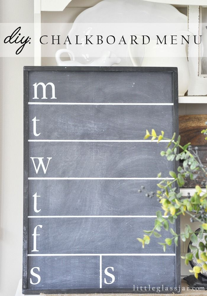 Super Cute DIY Chalkboard Menu for your kitchen via littleglassjar.com #DIY #chalkboard #kitchen