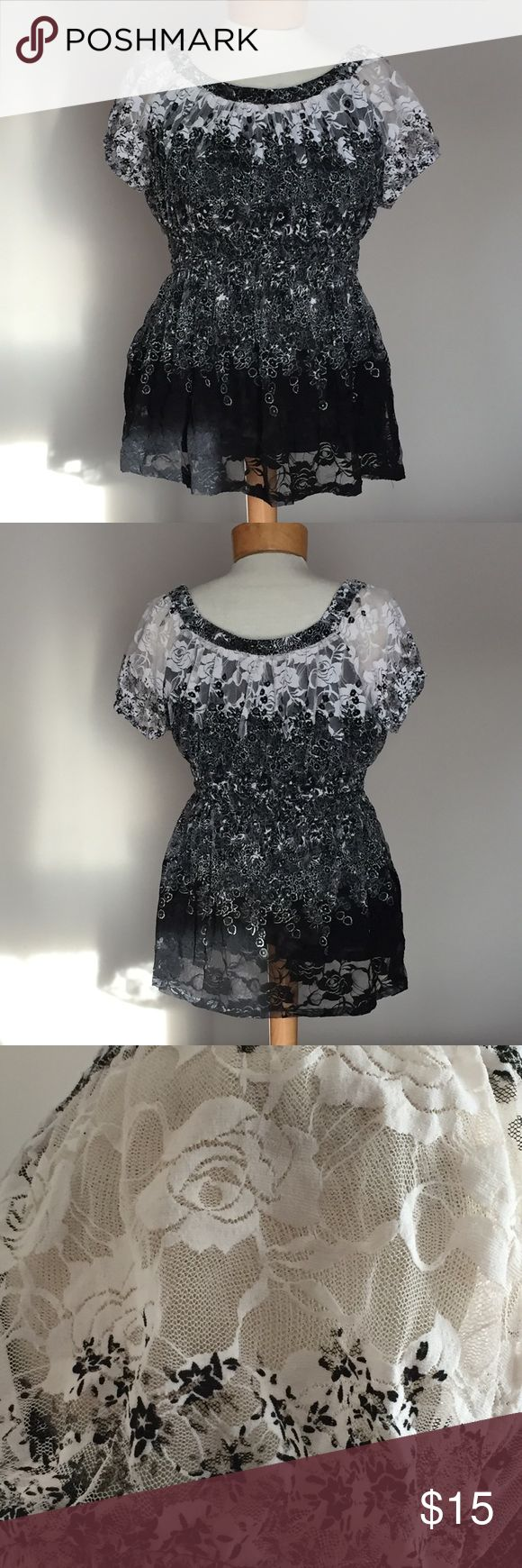 """Dress Barn black and white Lace top. Size Xlarge Like new Dress Barn black and white Lace top. Size Xlarge. 25"""" long. Nylon with 8% spandex. Dress Barn Tops"""