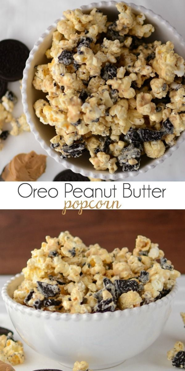 Homemade Oreo Peanut Butter Popcorn Recipe! How delicious does this look! Full of all our favorite flavors :) We can't wait whip this popcorn recipe up for our next movie night.