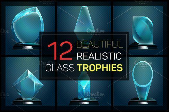 Glass trophies big set by Elegant Solution on @creativemarket