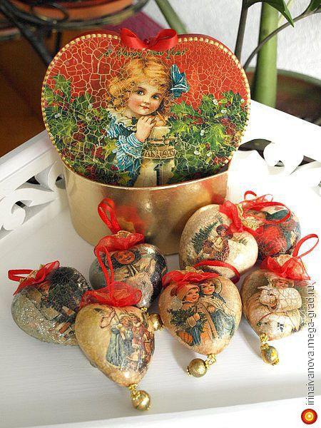 Продан. Винтажные елочные игрушки. Набор из 7 сердечек. - изделия в винтажном стиле, авторские новогодниеи рождественские подарки. МегаГрад - мега-портал авторской ручной работы