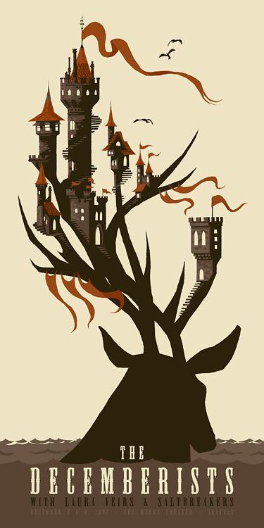illustration, animal, deer, water, castle, silhouette, design, typography. decemberists01  chris Turnham