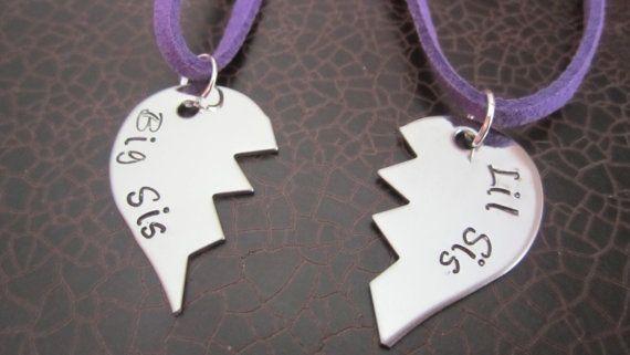 Lil Sis Big Sis Broken Heart Necklace Set by littleangelsboutique