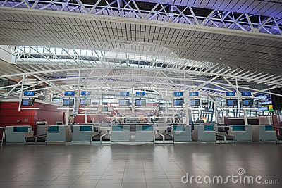 King Shaka airport Durban South-Africa airline check-in counters for domestic and international flights for passengers at  modern infrastructure.Photo image with no people at check-in counters.