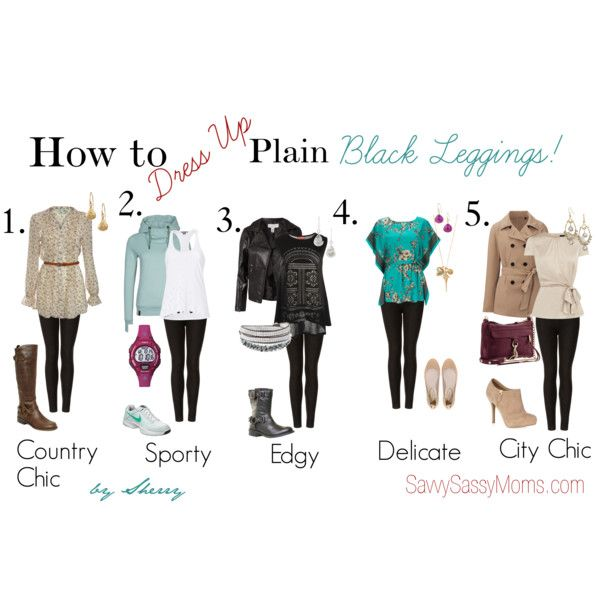 """""""How to Dress Up Plain Black Leggings"""" by thelifeoftheparty on Polyvore"""