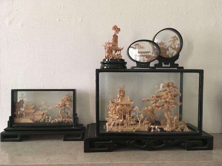 Chinese kunst,fijn uitgesneden kurk