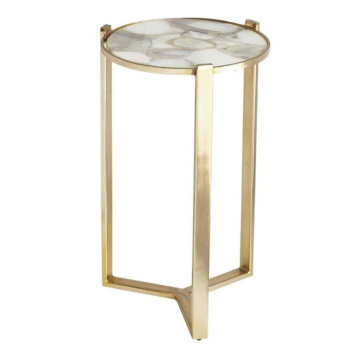 Agate and Brushed Metal Side Table