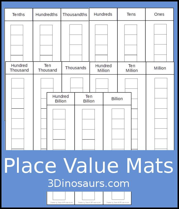 Free Place Value Mats 5 Pages Of Printables With Place Value From Ones To Billions With Tenths Hundredt Place Values Teaching Place Values Place Value Cards
