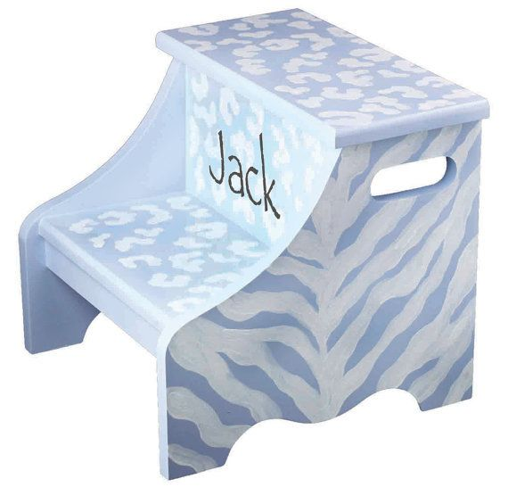 120 best every child needs a step stool images on pinterest step kids stool animal print safari theme personalized gift for boy unique baby boy nursery bedroom decoration negle Image collections