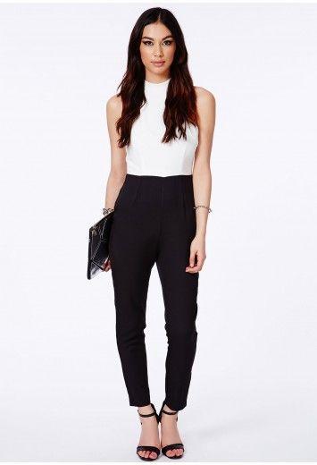 Abelina Monochrome Jumpsuit With High Neck - Jumpsuits & Playsuits - Jumpsuit - Missguided